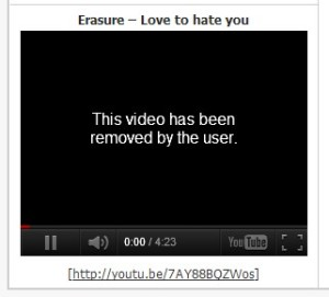 Erasure Video Removed