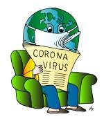 Globe reading coronavirus news