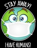 Earth with mask: stay away